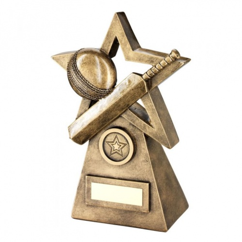 Cricket Star & Pyramid Trophy in Bronze & Gold