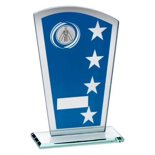 Cricket Blue & Silver Glass Plaque Trophy