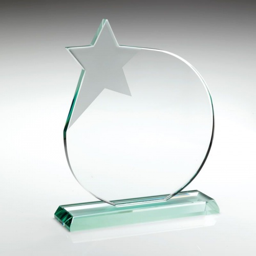 9.75in Glass Circle Plaque With Star
