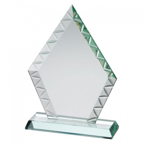 8.75in Jade Glass Patterned Edge Peaked Plaque