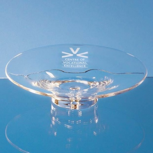 Handmade Glass Bubble Base Shallow Bowl 22cm