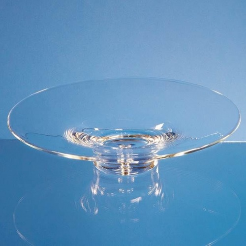 Handmade Glass Bubble Base Shallow Bowl 35cm