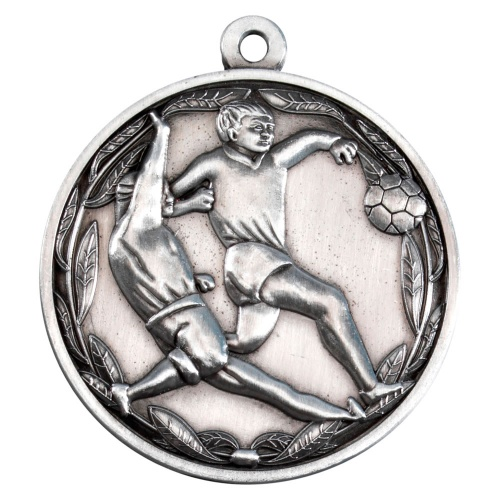 50mm Football Players Medal in Antique Silver