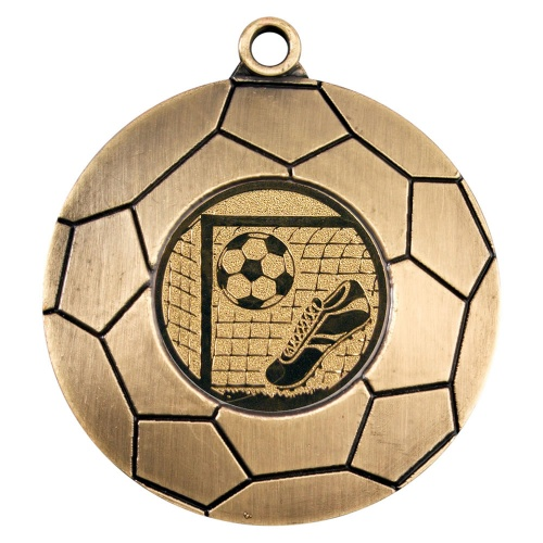 50mm Domed Football Medal in Antique Gold