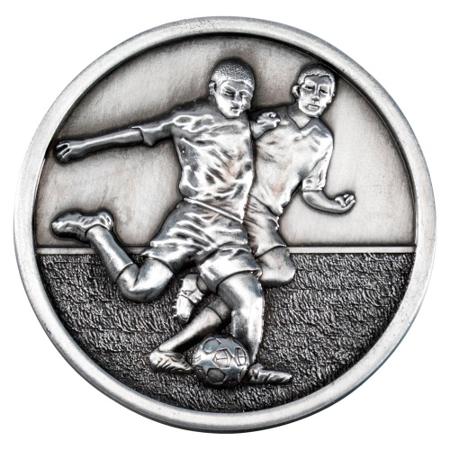 70mm Football Players Medal in Antique Silver