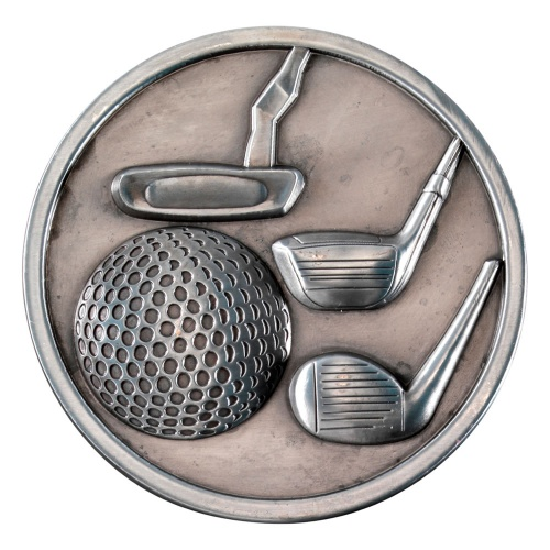 70mm Golf Medal in Antique Silver