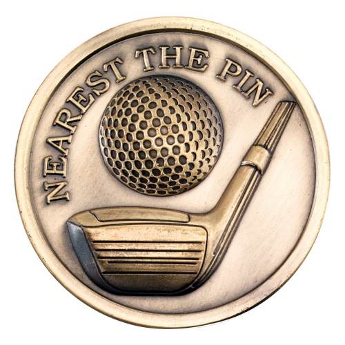 70mm Golf Nearest the Pin Medal in Antique Gold