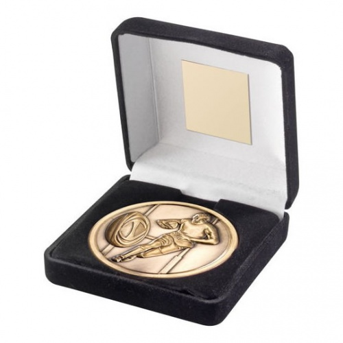 70mm Rugby Medal in Antique Gold