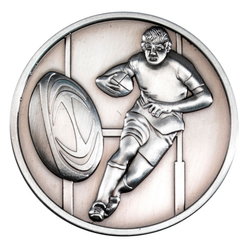70mm Rugby Medal in Antique Silver