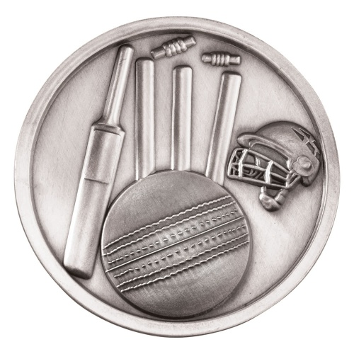 70mm Cricket Medal in Antique Silver