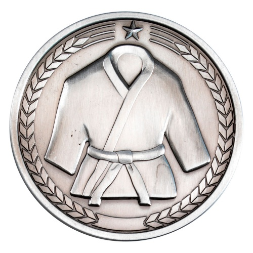 70mm Martial Arts Medal in Antique Silver