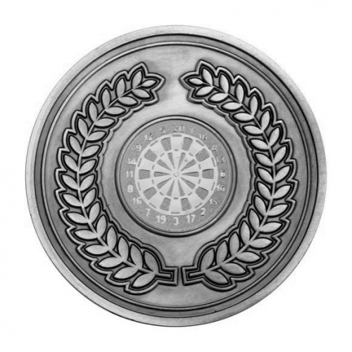 70mm Antique Silver Darts Laurel Wreath Medal
