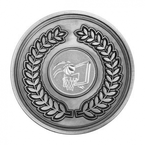 70mm Antique Silver Basketball Laurel Wreath Medal