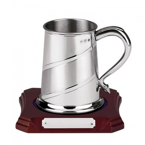 Sateen Band Pewter Tankard