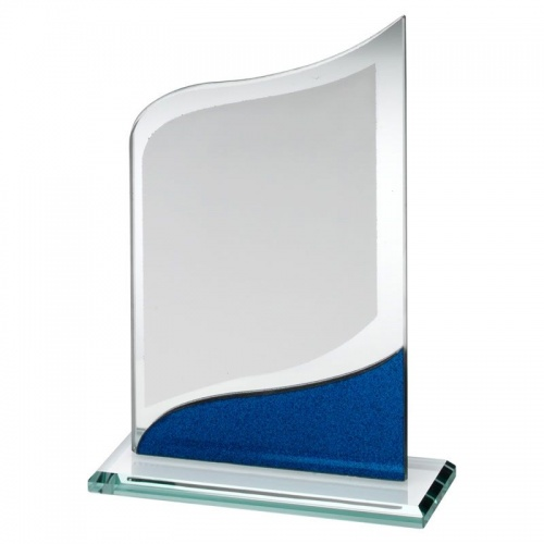Jade & Blue Glass Plaque with Silver Panel