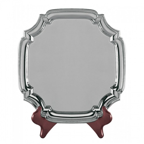 10in Heavy Gauge Nickel Plated Square Chippendale Tray