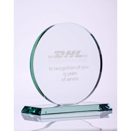 6in Jade Glass Circle Award
