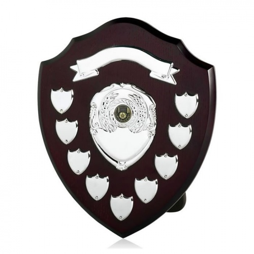 12in Wood Awards Shield with 9 Side Shields