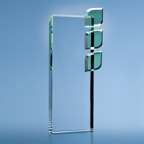 27cm Optical Crystal Eco Excellence Award with Triple Green Leaves