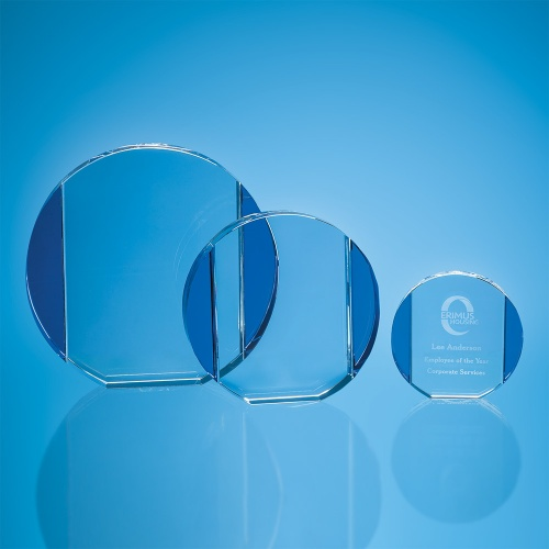 Clear & Cobalt Blue Optical Crystal Column Circle Award