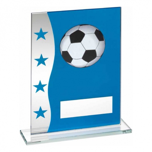 6.5in Blue & Silver Football Glass Plaque
