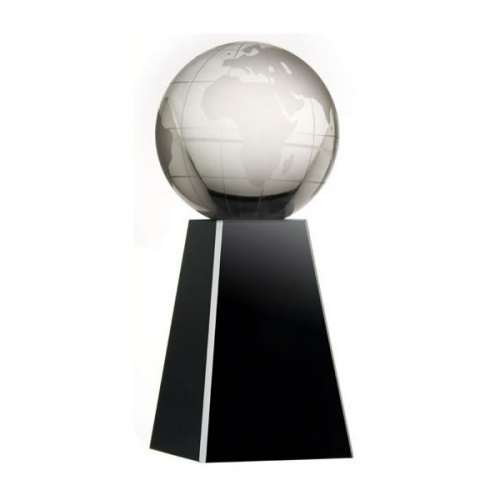 7in Crystal Globe Award on Black Plinth