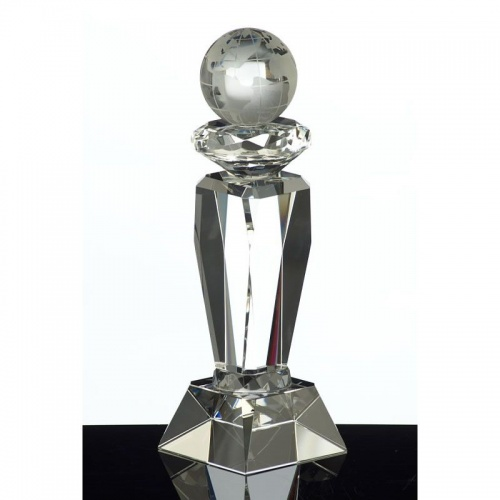 10.5in Crystal Globe Column Award