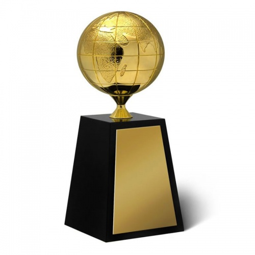 Gold Globe On Crystal Base