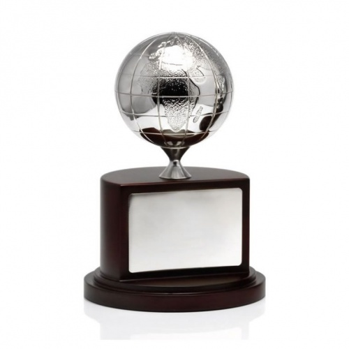 Silver Globe on Wooden Base