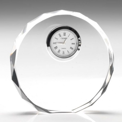 4.25in Circle Flat Glass Clock Award
