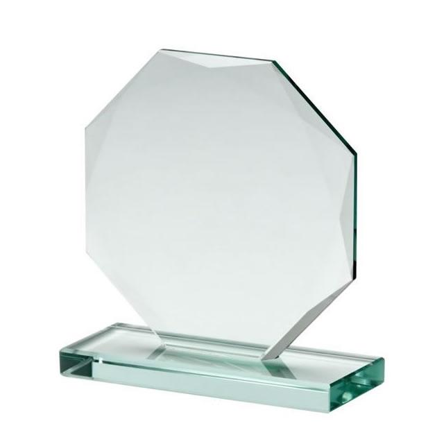 GLASS DARTS 10CM OCTAGON AWARD TROPHY GA1003 ENGRAVED PERSONALISED