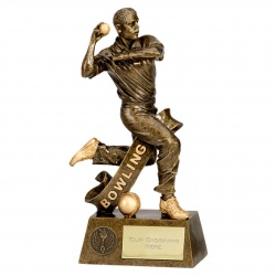 Resin Cricket Bowler Figure Trophy