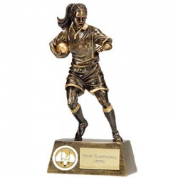 Resin Bronze Female Rugby Player Trophy