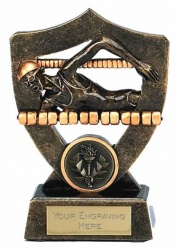 Women's 7in Swimming Awards Plaque in Bronze & Gold Resin