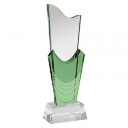 10in Green & Clear Glass Award
