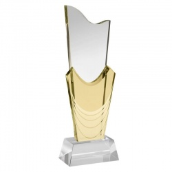 10.75in Yellow & Clear Glass Award