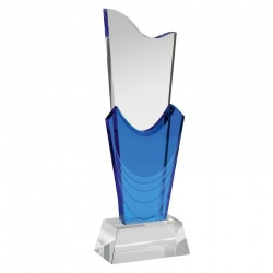 11.5in Blue & Clear Glass Award