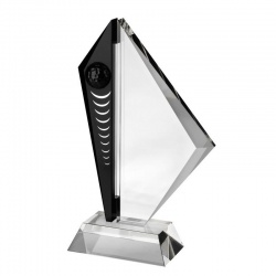 Clear & Black Glass Golf Award AC189