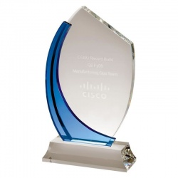 Clear & Blue Crystal Arc Award AC79
