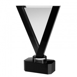 13.25in Clear & Black Glass V Award