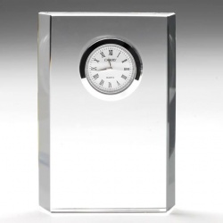 4.75in Rectangle Flat Glass Clock Award