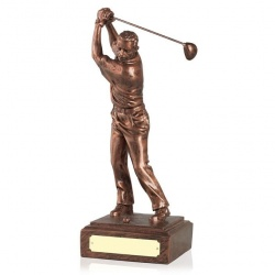 12in Copper Finish Golf Figure