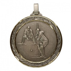 60mm Silver Cricket Medal