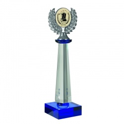 Clear & Blue Crystal Column Award GLC001