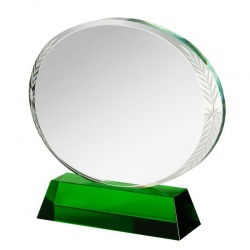 Clear & Green Glass Circle Plaque GLC013