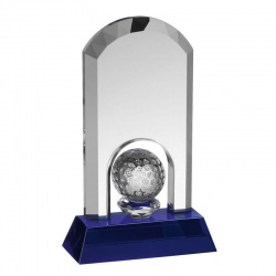 Clear & Blue Glass Golf Award GLC016
