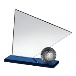 Clear & Blue Glass Golf Award GLC019