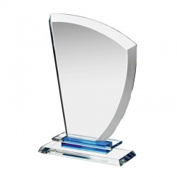 Clear & Blue Glass Award Plaque HC019