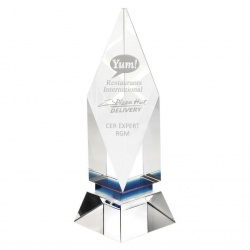 Premium Clear & Blue Crystal Award JB1070