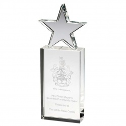 Clear Glass Block with Star Award